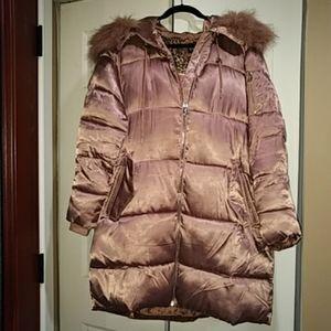 Jessica Simpson Faux Fur Rose Gold Puffer Coat XL